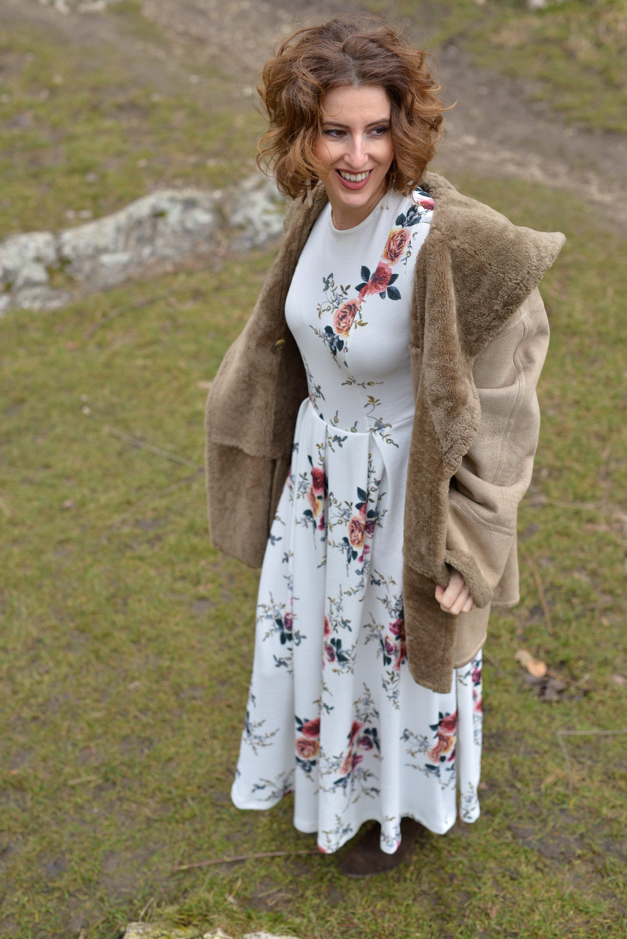 sheepskin coat, flower dress